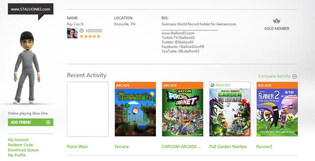 Американец набрал 1 млн игровых очков в Xbox Live  - Изображение 1